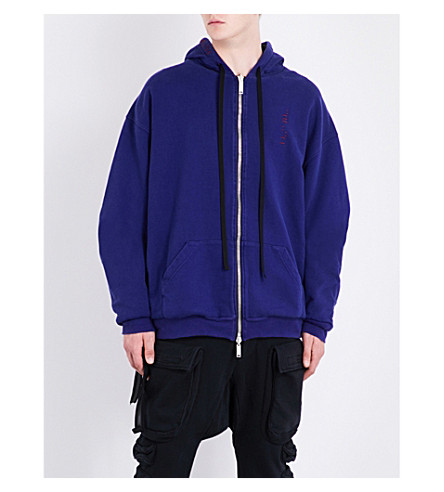 UNRAVEL Reversible cotton-jersey hoody (Purple+burgundy