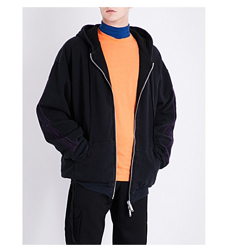 UNRAVEL Bone-embroidered cotton-jersey hoody (Black