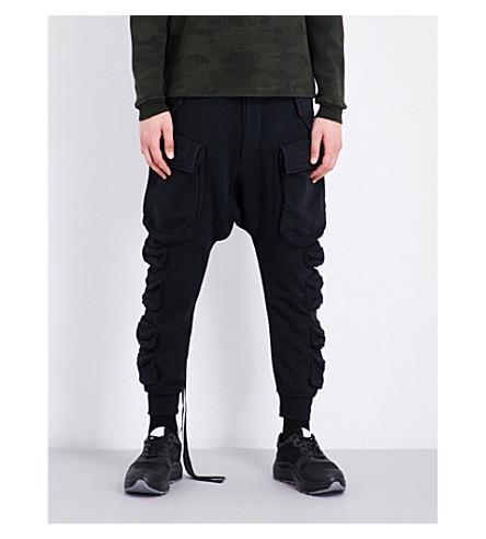 UNRAVEL Pocket-detailed cotton-jersey jogging bottoms (Black