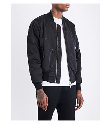 UNRAVEL Distressed shell bomber jacket (Black