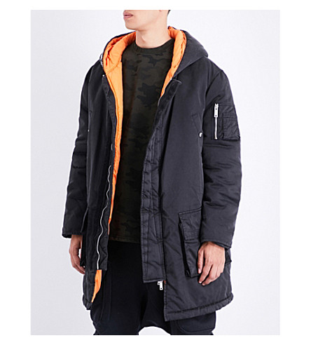 UNRAVEL Hooded shell parka coat (Black