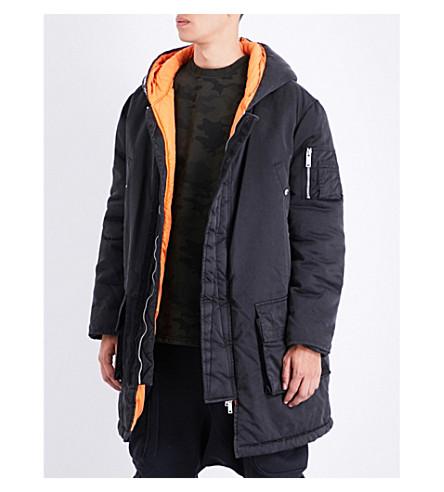 UNRAVEL Hooded shell parka coat (Black