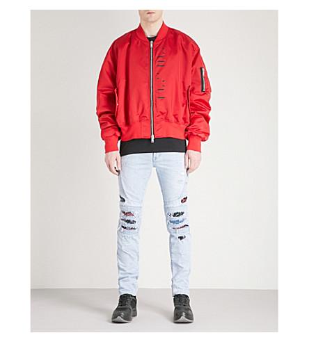 UNRAVEL Printed oversized satin bomber jacket (Red black