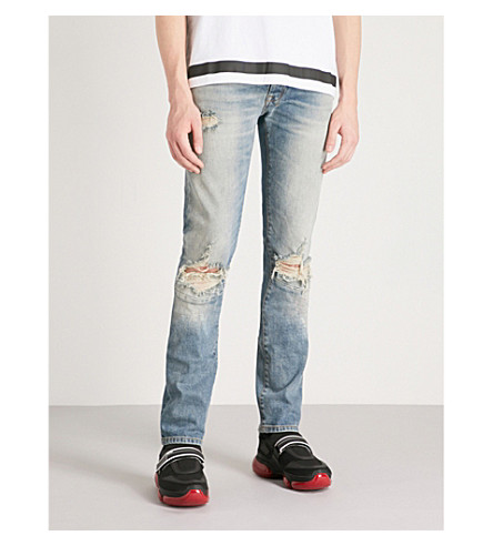UNRAVEL Distressed slim-fit tapered jeans (Stone+wash