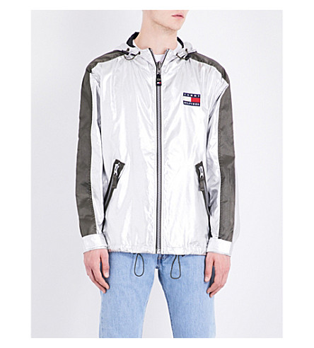 NOT APPLICABLE Tommy Hilfiger logo-patch shell jacket (Silver