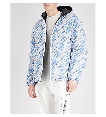 ADIDAS X ALEXANDER WANG Logo-print reversible shell-down puffer jacket (Blue+black