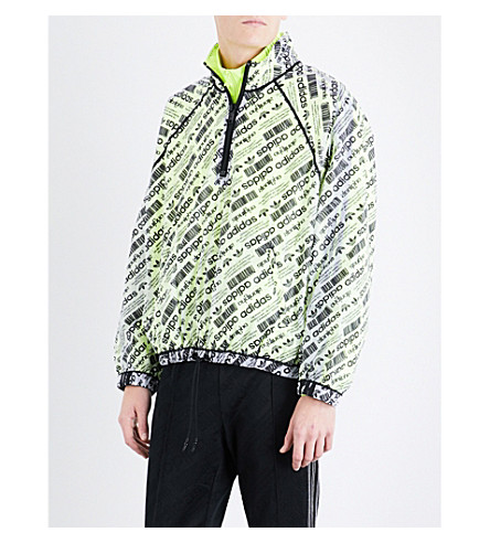 ADIDAS X ALEXANDER WANG Logo-print sports mesh shell coat (White+black+yellow