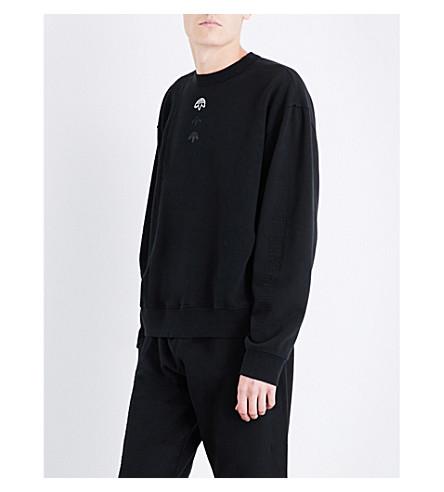 ADIDAS X ALEXANDER WANG Logo-embroidered fleece-panel cotton-jersey sweatshirt (Black
