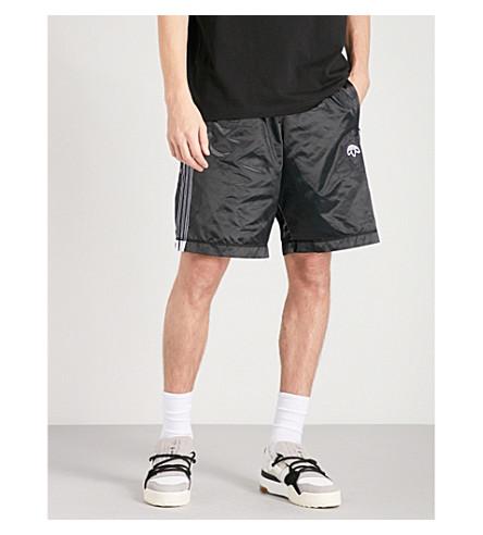 ADIDAS X ALEXANDER WANG Logo-embroidered shell shorts (Black+black
