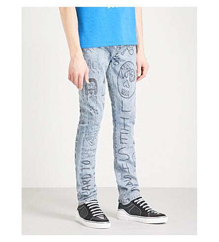 HACULLA Mindful Doodles slim-fit straight jeans (Light+wash+denim
