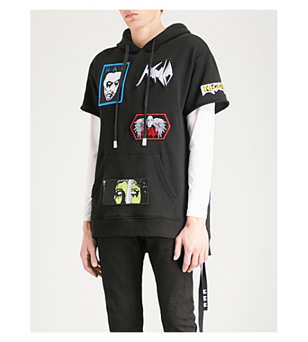 HACULLA Rancid appliquéd cotton-jersey hoody (Black
