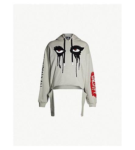 HACULLA Eyes-print cotton-jersey hoody (Grey