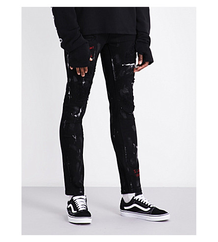 HACULLA Distressed slim-fit tapered jeans (Black