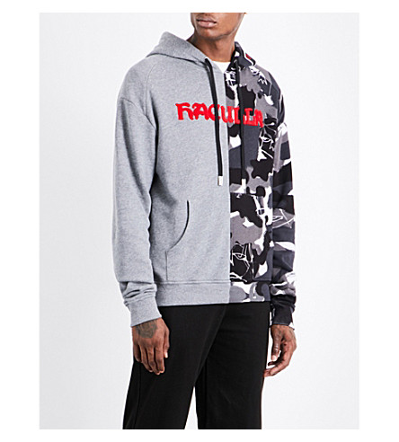HACULLA Contrast-panel logo-print cotton hoody (Heath+grey