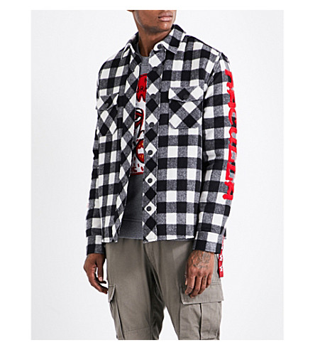 HACULLA Eyez checked wool-blend jacket (Red+blk