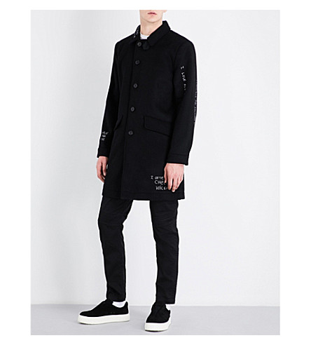 HACULLA Face-embroidered wool-blend jacket (Black
