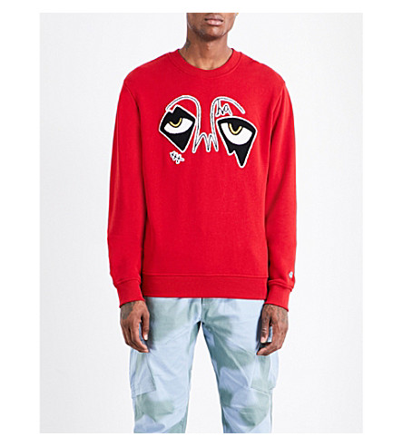 HACULLA Eyez embroidered cotton sweatshirt (Red