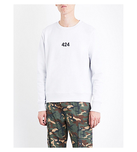 424 Logo-embroidered cotton-jersey sweatshirt (White