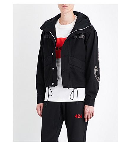 424 Paisley-print denim parka jacket (Black
