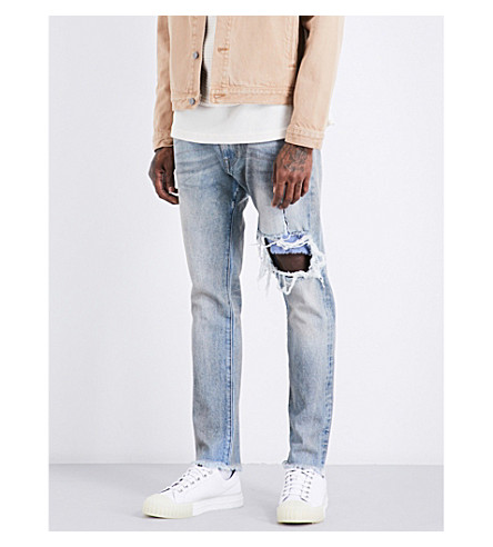424 Distressed slim-fit tapered jeans (Indigo