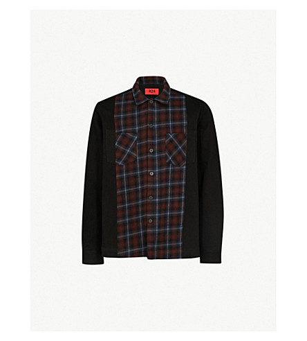 424 Checked-panel cotton-twill shirt (Blkpld
