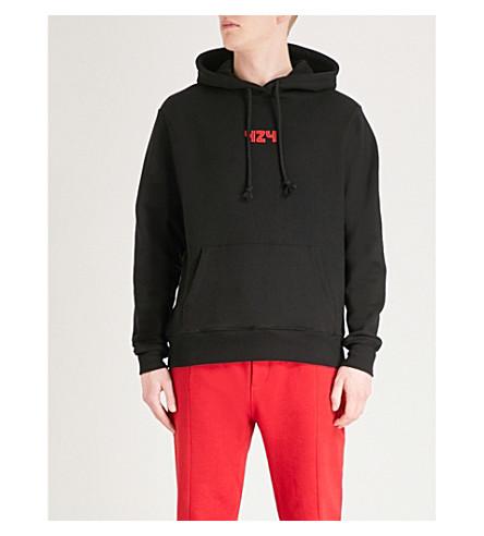424 Logo-print cotton-jersey hoody (Black+red