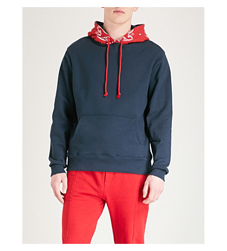 424 Two-tone paisley-print cotton-jersey hoody (Navy+red+paisley
