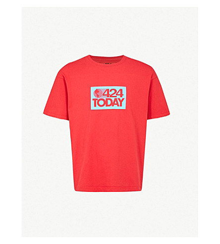 424 Logo-print cotton-jersey T-shirt (Red