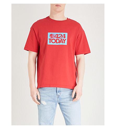 424 Logo-print cotton-jersey T-shirt (Red