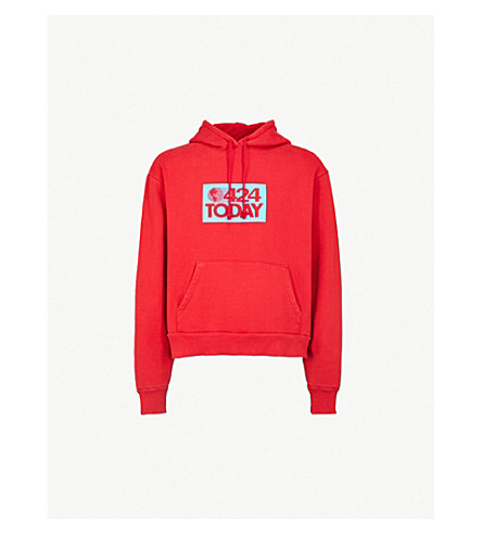 424 424 Today cotton-jersey hoody (Red