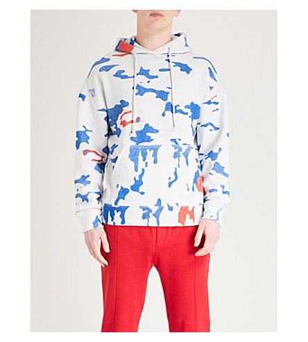 424 Camouflage cotton-jersey hoody (White+blue+camo