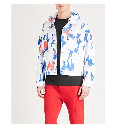 424 Camouflage hooded denim jacket (White+blue+camo