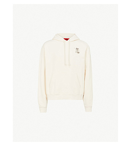 424 Safety pin-detail cotton-jersey hoody (Cream