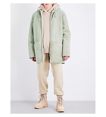 YEEZY Season 4 Hooded shearling and suede jacket (Dune