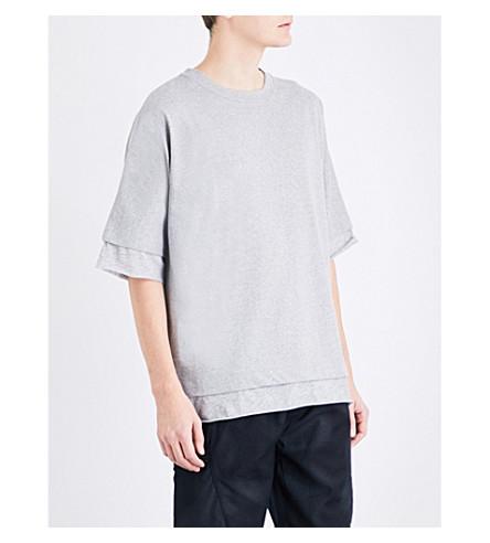MAGIC STICK Layered oversized cotton-jersey T-shirt (Grey