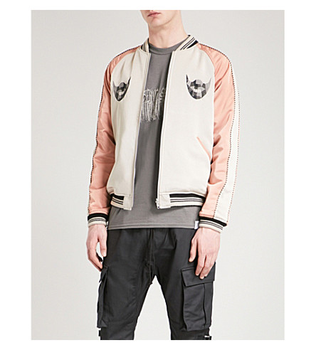 MAGIC STICK 2 Face shell bomber jacket (Beige+black+white