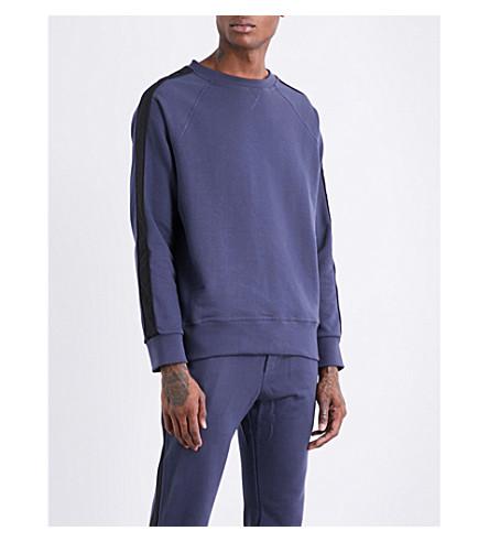 ADYN Striped-sleeves cotton-jersey sweatshirt (Navy