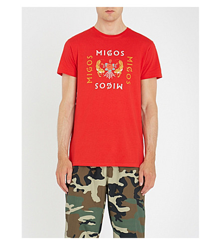 algodón Rosa roja MIGOS jersey camiseta de Migos wpcqzA