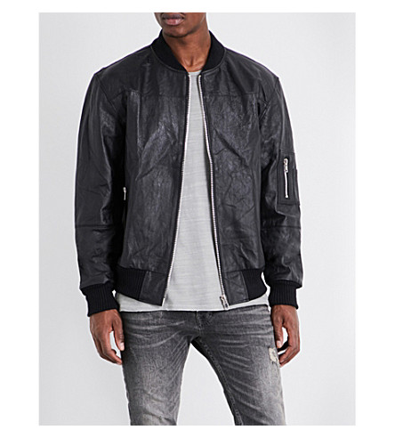 DEADWOOD Wild Streets recycled leather bomber jacket (Black