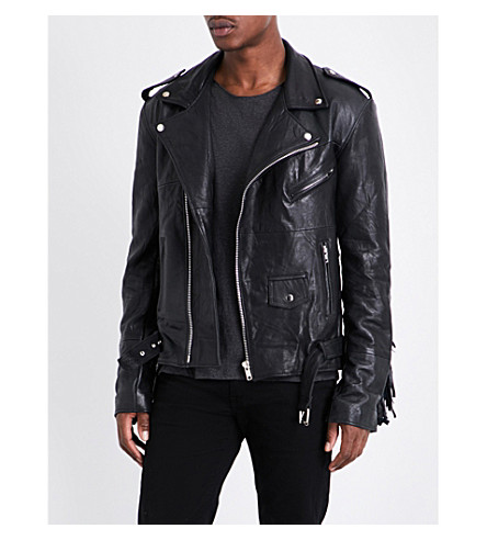 DEADWOOD Townes recycled leather jacket (Black