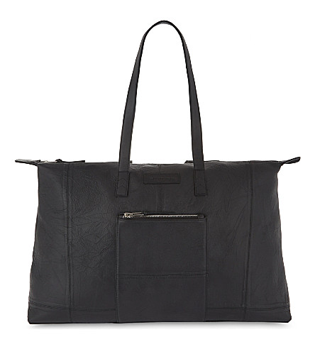 DEADWOOD Grained leather tote (Black
