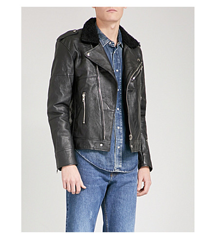 DEADWOOD Avery faux-shearling and recycled leather jacket (Black