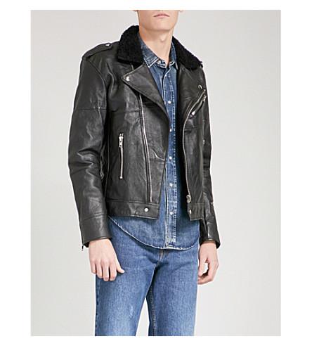 DEADWOOD羊毛和再生皮夹克 (黑色