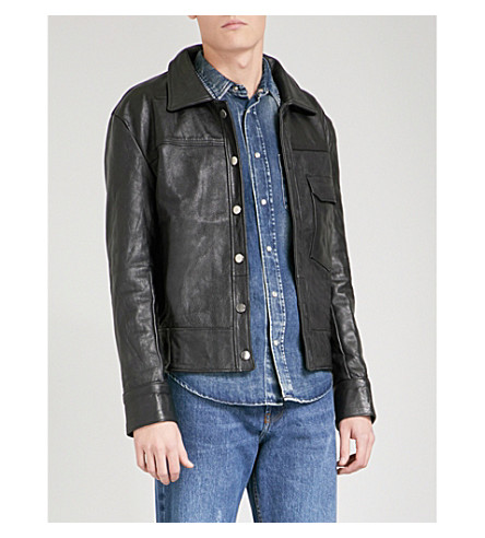 DEADWOOD Montana recycled leather jacket (Black