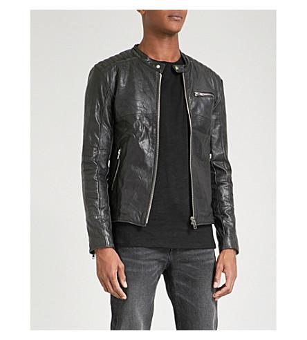DEADWOOD Nevada collarless leather jacket (Black