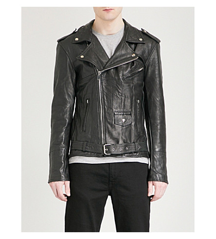 DEADWOOD Asymmetric leather jacket (Black