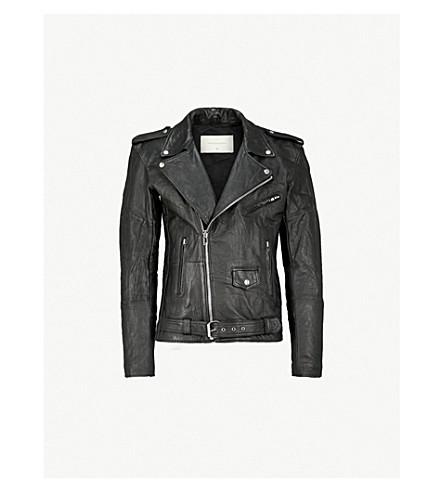 DEADWOOD Printed recycled leather biker jacket (Black