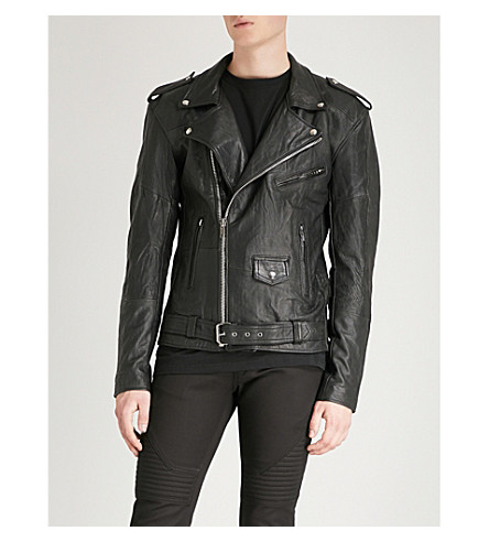 DEADWOOD Printed recycled leather biker jacket (Black