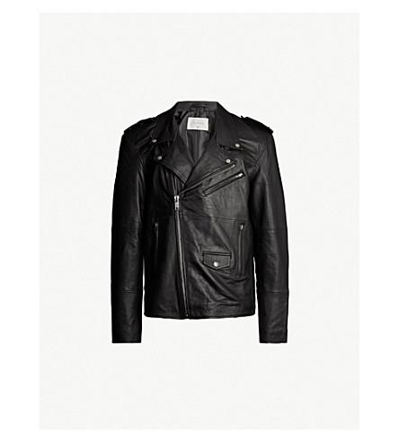 DEADWOOD Izzy star epaulette leather jacket (Black