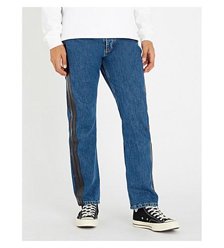 MISBHV Regular-fit patent-trim denim jeans (Blue